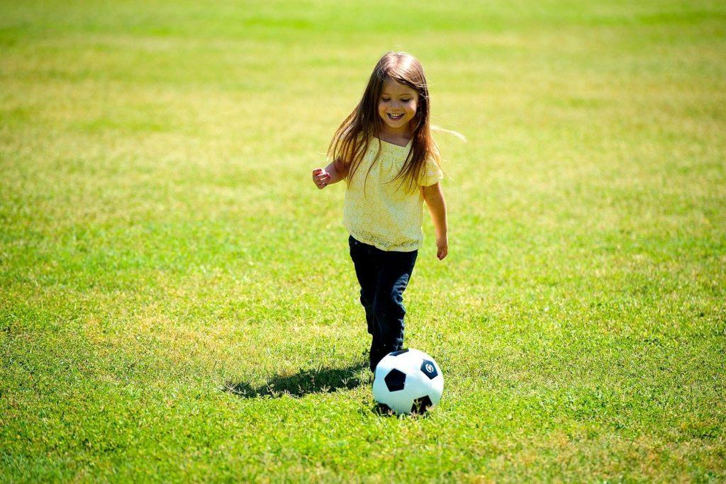 girl, playing, soccer